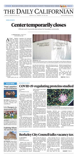 The front page of the latest issue of The Daily Californian.